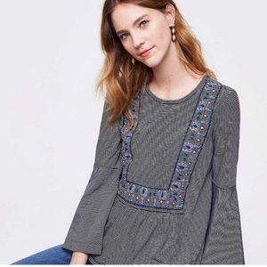 LOFT Striped Embroidered Bell Sleeve Top Medium